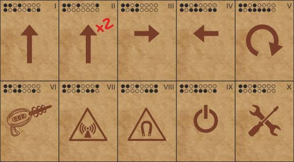 Перфокарты для игры Роботы: Арена